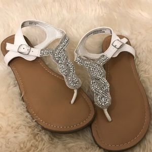 Candies crystal bling thong sandal white 6.5
